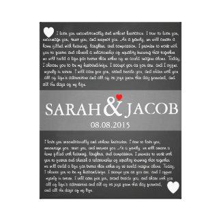 Wedding vow canvas print anniversary gift