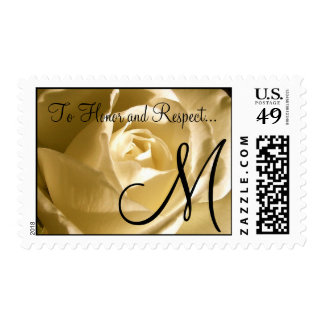 Wedding Vow Cream Rose Monogram Postage