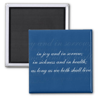 Wedding Vow In Sickness Blue 2 Inch Square Magnet