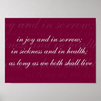 Wedding Vow In Sickness Magenta Poster