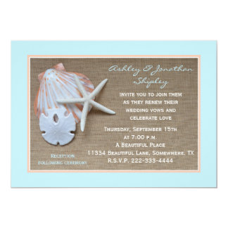 Wedding Vow Renewal Beach Burlap Look 5x7 Paper Invitation Card