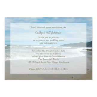 Wedding Vow Renewal by the Beach 5x7 Paper Invitation Card
