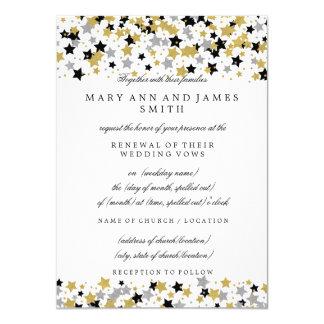 Wedding Vow Renewal Gold Foil Look Stars Confetti Card