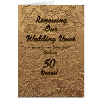 Wedding Vow Renewal Invitation 50 Years Golden Greeting Card