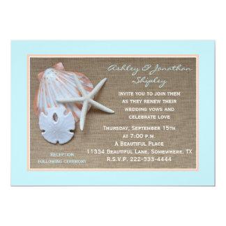"Wedding Vow Renewal Invitation - Beach Burlap Look 5"" X 7"" Invitation Card"