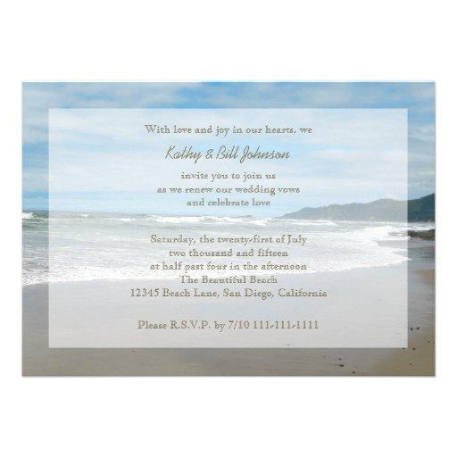Wedding Vow Renewal Invitation by the Beach Custom Invitation