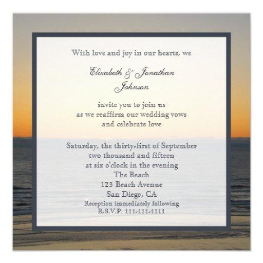 Wedding Vow Renewal Invitation --  Sunset