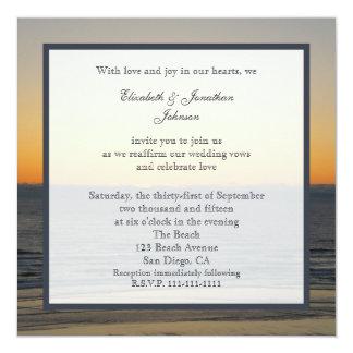 "Wedding Vow Renewal Invitation --  Sunset 5.25"" Square Invitation Card"