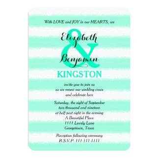 Wedding Vow Renewal Mint Watercolor Stripe 5x7 Paper Invitation Card