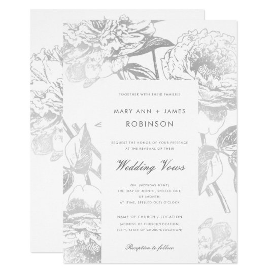 Wedding Vow Renewal Modern Simple Floral Silver Invitation Zazzle Com