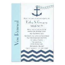 Wedding Vow Renewal Nautical Blue Invitation