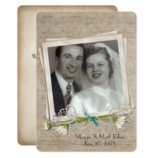 wedding vow renewal old photo frame and daisy card