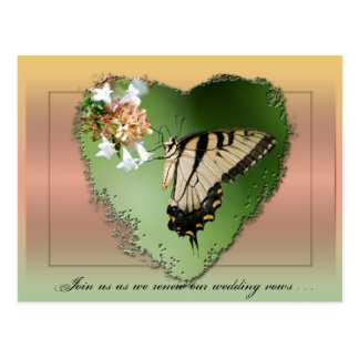 Wedding Vow Renewal Postcard/Butterfly and Heart Postcard