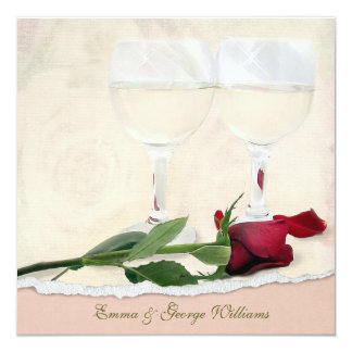 Wedding Vow Renewal Rose 5.25x5.25 Square Paper Invitation Card
