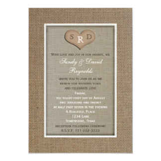 Wedding Vow Renewal Rustic Burlap Frame with Heart 5x7 Paper Invitation Card