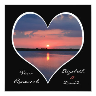 Wedding Vow Renewal Sunset in Heart on Black 5.25x5.25 Square Paper Invitation Card