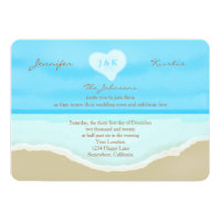 Wedding Vow Renewal Watercolor Beach Blue Card