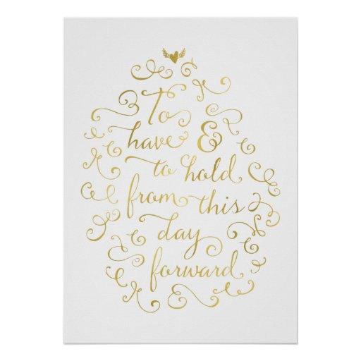 Wedding Vows Faux Gold Foil Calligraphy Poster Zazzle