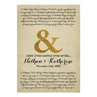 Wedding Vows Gold Ampersand Happily Ever After Poster