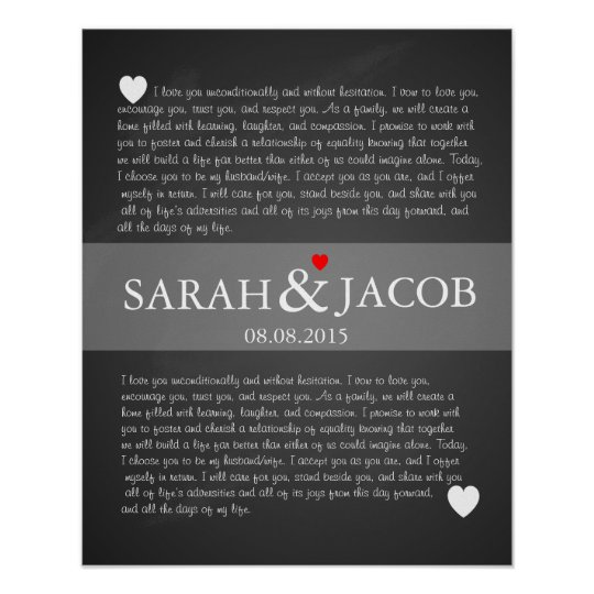 Wedding Vow Gifts: Wedding Vows Print Anniversary Gift