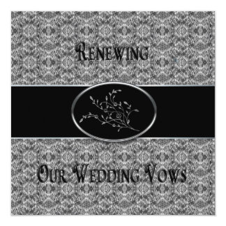 Wedding Vows Renewal Invitation - Black/Silver