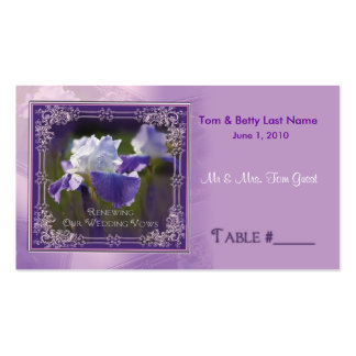 Wedding Vows Renewing - Iris Table Placement Cards Business Card Template