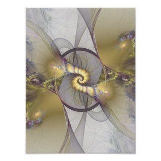 Wedding Vows Yellow Flame Fractal Poster