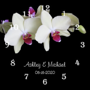 Flowering Orchid Wall Clocks | Zazzle