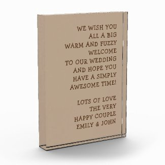 Wedding Warm Welcome from Newlyweds Typography Photo Block