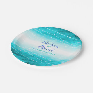 Wedding watercolor blue sea custom paper plate