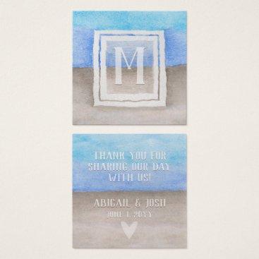Beach Themed Wedding Watercolor Blue & Tan Sea Beach Favor Tag