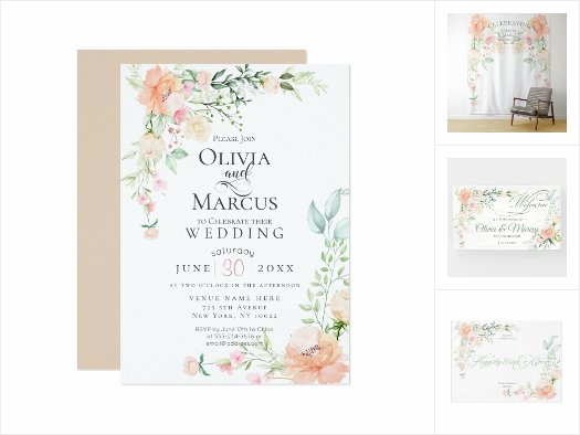 WEDDING |  Watercolor Blush Coral Spring Flowers