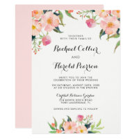 Wedding Watercolor Botanical Garden Floral Invitation
