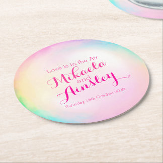 Wedding watercolor bubble paper coasters