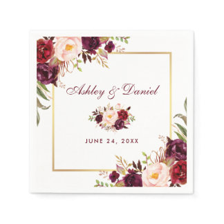 Wedding Watercolor Burgundy Floral Gold Napkin
