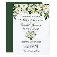 Wedding Watercolor Floral Green White Invite G