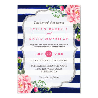 Wedding Watercolor Floral Silver Navy Blue Stripes Card