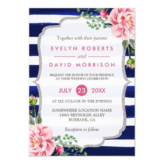 Wedding Watercolor Fl Silver Navy Blue Stripes Card
