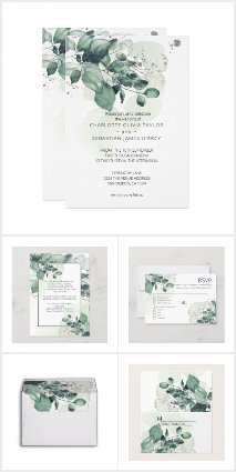 Wedding - Watercolor Green Leaves