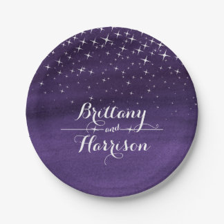 Wedding watercolor starry night custom paper plate 7 inch paper plate