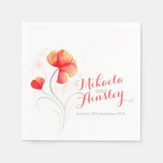 Wedding watercolor wildflower orange paper napkin