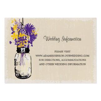 Wedding Website Card Mason Jar Wildflowers Large Business Cards (Pack Of 100)