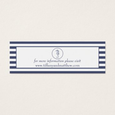 Beach Themed Wedding Website Card | Nautical Blue Seahorse
