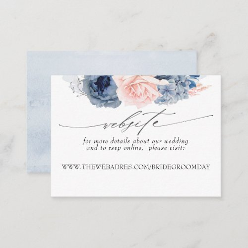 Wedding Website Dusty Blue and Pink Flowers Business Card