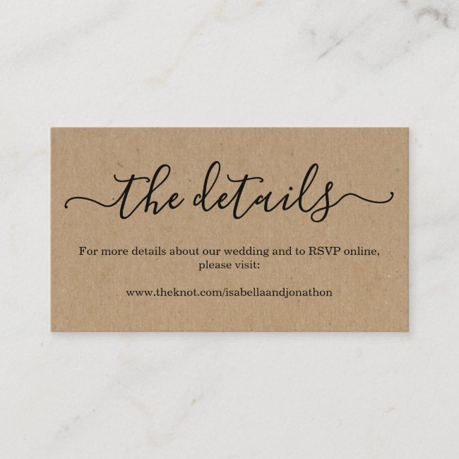 Wedding Website Enclosure Card - Rustic Kraft