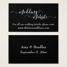 Wedding Website | White Script on Editable Black Business Card