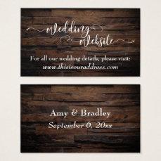 Wedding Website | White Script & Rustic Brown Wood Business Card