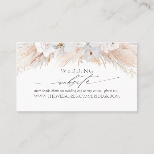 Wedding Website White Tropical Flowers & Pampas Business Card