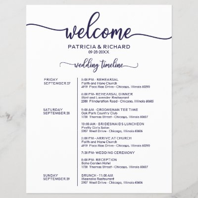 Wedding Weekend Itinerary Chic Navy Blue Timeline