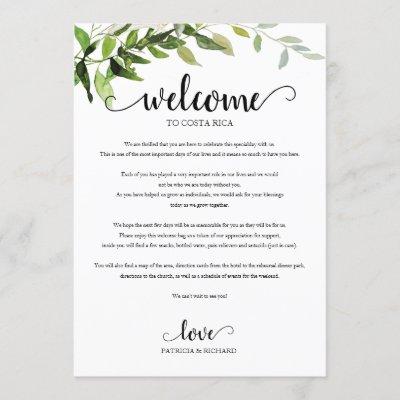 Wedding Weekend Itinerary Elegant Greenery Invitation